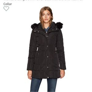Calvin Klein coat with faux fur trim hood